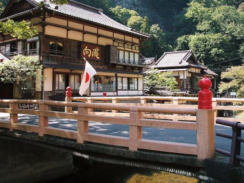 これも国の登録有形文化財の宿「向滝」です。手前の橋が詠観橋です。