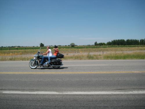 ハーレーの二人乗りで気持ちよさそう<br />ヘルメットがないのが昔を思い出す<br />16で免許を取ったときはヘルメット不要だったけど17の時にヘルメット着用になった<br />まあヘルメット被ってるほうが安全だけど