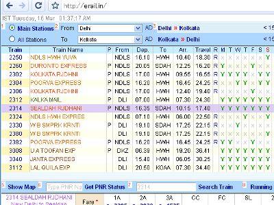 現在、旅行計画を建てるのに最も威力を発揮するのが、インターネット上のツールです。例えば、インド鉄道は予約サイトと列車検索サイトの両方をを持っています。<br /><br />予約サイト(IRCTC): http://www.irctc.co.in/<br />列車検索: http://www.indianrail.gov.in/<br /><br />これ以外にERAILという商用サイトもあります。<br /><br />ERAIL: http://erail.in/<br /><br />これらのサイトは機能が似ていますが、ERAILがダントツで使いやすく多機能です。基本的な利用法としては、出発地と目的地を入力して列車一覧を出します。その後、興味のある列車を選んで、客車の等級ごとの料金と空席状況を調べます。ERAILには便利な使い方がたくさんありますが、ここでは割愛します。「ERAILで調べて、IRCTCで予約する」これが「インド鉄道勝利の方程式」です。少なくとも、2010年までは..。<br /><br /><br />写真: ERAILの画面