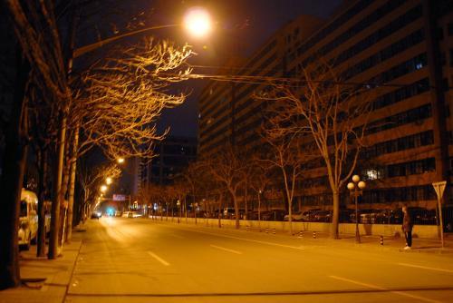 車も人の気配もない感じ・・・・と思ったら、真向かいにもタクシー待ちの青年が。<br /><br />待てど暮らせどタクシーなど来ませんので、南北の大通りまで出ましょう!<br />