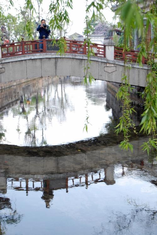柳の葉っぱが水路に映えますね!<br /><br />北京の柳、未だに枝ばかりです。
