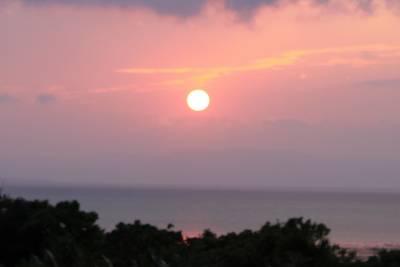 夕食の途中、ふと外をみるとこのようなきれいな夕日が。<br />明日は晴れそうです。
