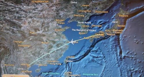 関空出発。すぐに上海上空。