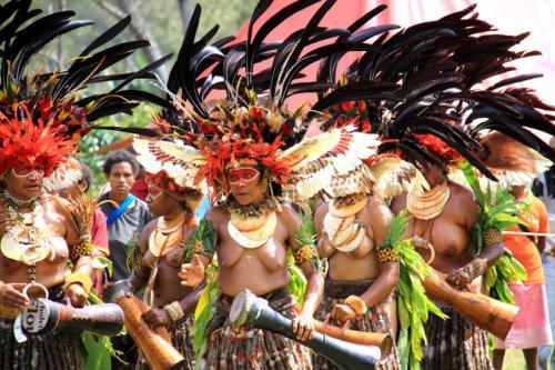 パプアニューギニアには約800もの民族が住んでおりそれぞれが独自の言語を持ち、伝統的な文化を継承しながら生活している。シンシンとは踊りのことで元々戦いの前に士気を高めるためのものであったが、後に結婚式やイベントの時に歌ったりするようになった。マウントハーゲンの会場では4つ以上の民族が伝統のシンシンを披露してくれた。顔や体に色鮮やかなペインティングをし、頭には赤や黒色の羽根の飾りを付け、腰には草を巻き、オッパイ丸出しで太鼓を打ち鳴らし踊り狂う姿は壮観であった。各民族の伝統的な文化を楽しむことが出来た・・ <br />
