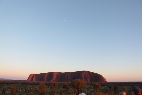 8月30日(月)<br /><br />早朝からウルルのサンライズです。<br />天気は快晴、雲のかけらもありません。<br /><br />ウルルの上にある白い点は月です。
