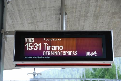 15:31発 ベルニナエクスプレスに乗ります。<br /><br />今回の旅行でベルニナ線に乗るのは、2泊3日間で、のべ6回目。<br />それなりに、詳しくなりました。