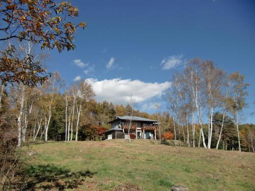 広い敷地に白樺の木と誰もいない別荘(写真)。地元不動産会社の分譲別荘のモデルハウス