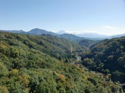 橋の上から南の方を見ると深い谷の彼方に富士山(写真)が見える。素晴らしい絶景のポイントである。