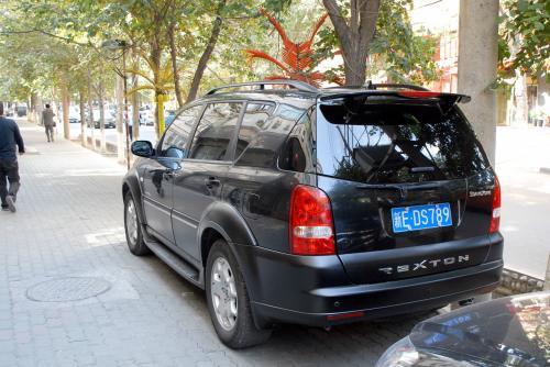 「REXTON(雷斯特)」と言う名の車で、メーカーらしいエンブレムには「SsangYong」と書かれていますが、どう読むのでしょう?<br /><br />調べてみると、「SsangYong」は「双龍」で、会社名ですね。<br />http://www.smotor.com/en/index.jsp<br /><br />そしてなんと!ドイツのメルセデスとの合弁会社でした。<br />http://cn.autoblog.com/2006/05/30/ssangyong-rexton-ii-introduced-in-madrid/<br /><br />この辺りの車種を買える金持ちなら、たぶん原形のベンツを買うと思いますが、どんな位置付けなんでしょうね。<br />最近では、上海の自動車会社から援助を受けているという記事もありましたし。