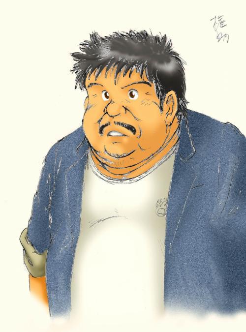 この絵ですが、十数年前に書いた漫画の、ちょいと出の脇役です。<br /><br />こちらの漫画を取り込んだ頁で紹介しています。<br />http://plaza.rakuten.co.jp/ChinaART/diary/201008070000/<br /><br />余りにもピッタリなので、一人でウケていました。(^灬^<br />(ラフですが、カラー版にしたので、画像を差し替えておきました)<br /><br /><br />当該漫画はこちらで見られます。<br />http://chinaartjp.exblog.jp/11952914/<br />(中国大陸からは、exciteブログがまた検閲対象になったので見られません)