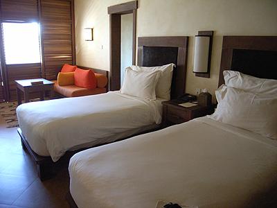 お部屋も木材を使ったシンプルな雰囲気。自然光を生かして照明控えめ、リラックスできるよう天井低めと、落ち着いて過ごすためのいろいろな工夫があるのです。このホテルに来るためだけでも、ハママート・マインに来る価値がありそうです…!