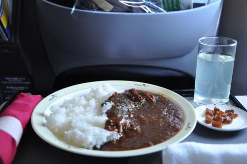 2度目のお食事。<br /><br />カレーにしてみた。<br />機内で食べるカレーとかラーメンみたいなジャンキーなものって美味しいよね〜。