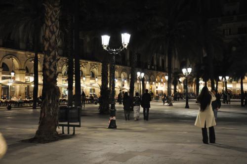 腹ごなしにレイアール広場付近をちょっとお散歩。<br />観光客もわんさかいて女一人歩きも全然OKだけど、実は治安の悪いスペイン。生命を狙われるケースは少ないが、とにかくスリが多い。<br /><br />昔、↑のスペイン人とフランス人、私の同世代女子3人でクリスマスシーズンのイギリスの住宅地を歩いていた時のこと。<br />一般人のお宅なのにプロ顔負けのイルミネーションが施され、通りに面した門の周りにはサンタなんかの電飾系置物がある家を見つけた。「うわぁ」って3人同時に感嘆の声を上げたんだけど、私はもちろん「凄い!キレイ!!」って意味で、フランス人の友人も同じだった。<br />が、スペイン人の友人は「大変!こんなところに置いておいたら盗まれちゃう!!」という意味で驚いていたのだ。<br /><br />それを聞いてスペインって治安悪いんだなあ・・・と思った。