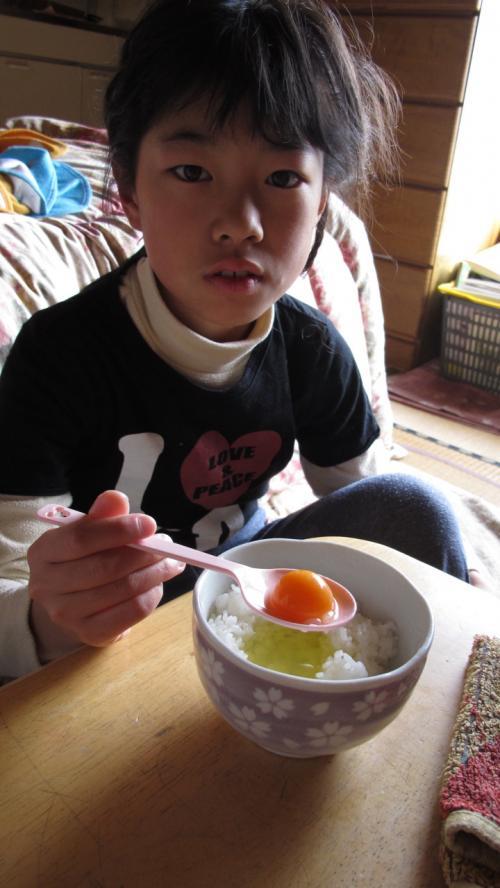 初タマゴ<br /><br />子供の御飯の量なら<br />ちょうど良い感じですね