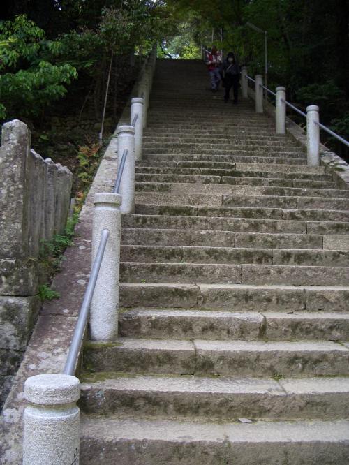 石段。<br />山寺の定番ですな。<br />一応、未舗装ですが緩やかな上り坂の迂回路もあり。