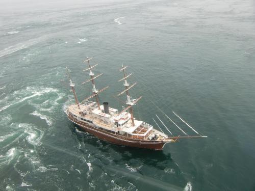 大型の帆船(写真)は淡路島から渦潮観光に来ている。