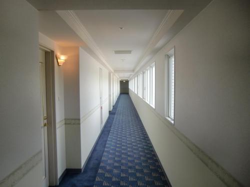本日の客室は5階の505号室。廊下(写真)も明るくてシンプルだ。