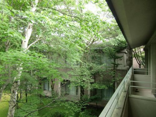 我々の客室は池に面した2階にあるのでバルコニー(写真)に出れば中庭と池が見える。ただし、木々が目の前にあり眺めは良くない。<br />