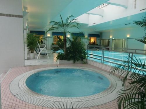 エクシブ軽井沢の室内温水プールは25mあり本格的な泳ぎもできる。プールサイドのジャグジー(写真)も気持ちがいい。<br />