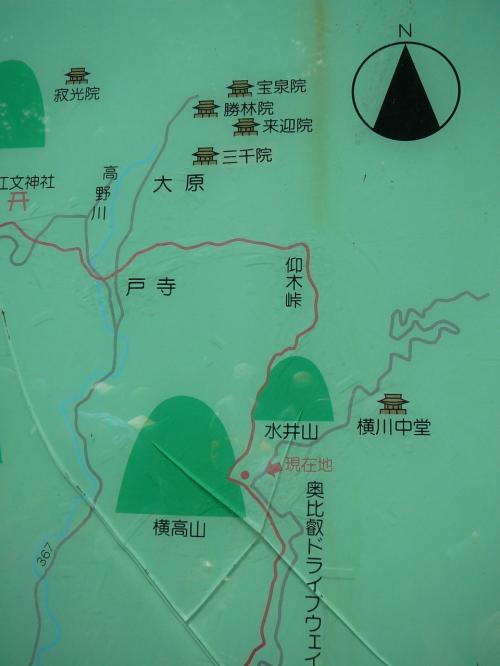 叡山ケーブル比叡駅から北へ、この横高山・水井山を登って行きます。