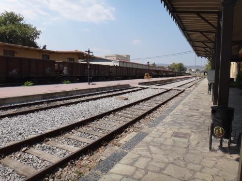 ヴォロス駅。「電車が来るのは3番ホーム」といわれても、ホームの番号が見つからないw。4時26分発だけど、電車到着は20分遅れ。ラリッサでアテネ行きに乗り換えなければならないのに乗り換え時間は10分。はたして乗れるのだろうか??