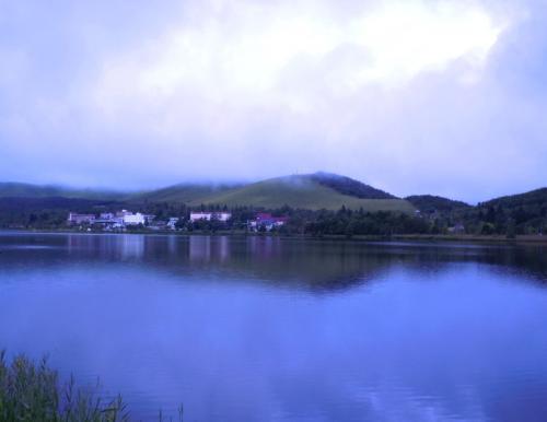 こちらは白樺湖。<br /><br /> ホテルの部屋からの眺めです。<br /> <br /> お天気はどんより。<br /> でも、霧がうっすらと立ち上る光景は、神秘的な感じ。<br /> 見慣れないのでしばらく眺めていました。
