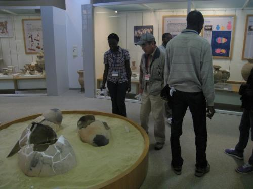 弥生のムラ体験学習館で見学する留学生達。弥生時代の甕棺に見入っています。