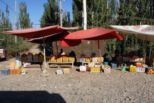 道中、村の近くの路上には、色んな売店が出ています。<br /><br />珍しく、西瓜も哈密瓜も無く、林檎や木瓜や桃などばかりが並んでいます。