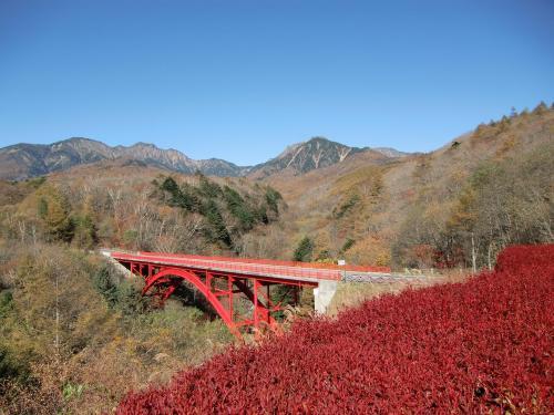 最初の目的地は川俣川東沢に架かる「赤い橋」(写真)、正式名称は「東沢大橋」。最高の天気にもかかわらず紅葉の鮮やかさがない。平日の朝なので観光客は少ない。