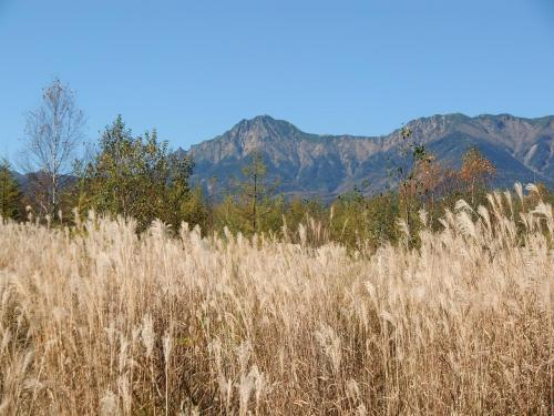 次なる目的地は「海ノ口」。141号と別れしばらく高原野菜畑の中を進む。八ヶ岳(写真)が近づくにつれて景色が一変し、高級リゾートの雰囲気になってくる。
