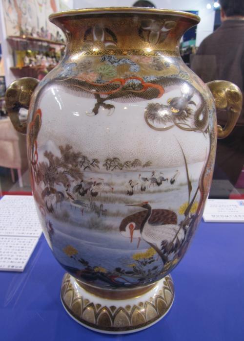 2011晩秋、ドームやきものワールド(3)瀬戸物(1/2)初代・川本桝吉の花瓶、三代・加藤三吉の青磁壷
