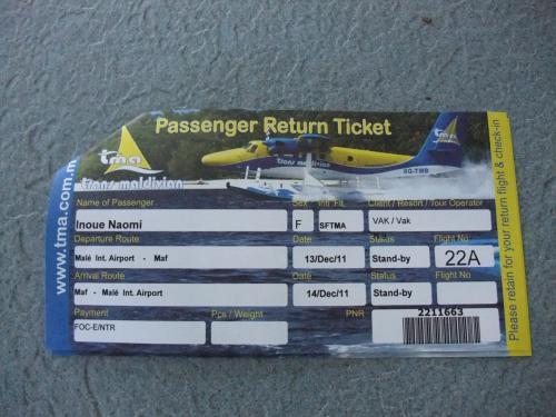 水上飛行機のチケットは、こんな感じです。