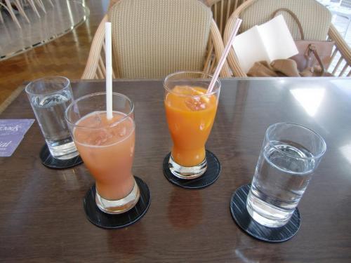 オーナーカード利用で飲み物を注文する。ガヴァジュース(写真手前)がうまい。