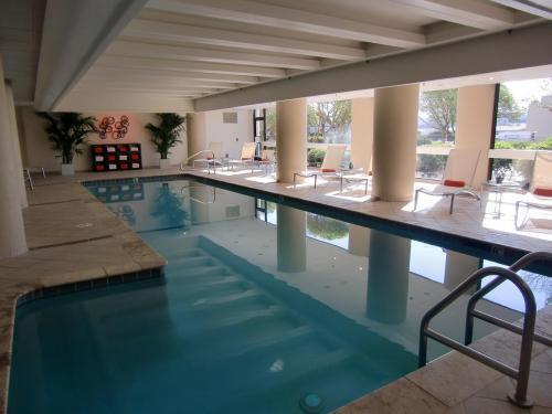 室内温水プール(写真)。日本人の体感温度からすると冷たくて泳ぐ気になれない。