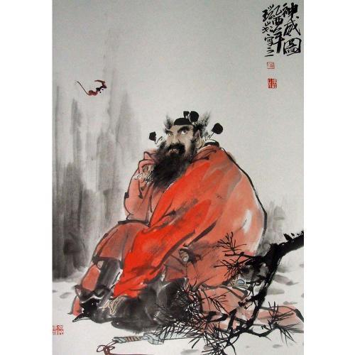 理解が深まるのと共に、鍾馗(Zhong Kui)さんの木像や石像などが、ドンどんんふえて行きました。<br />どんなモノでも良いと言う訳ではなく、選ぶに際してこまなりの拘りが有り、その状況下、現在拙宅には、一番大きな80cmの木彫り像から小さな掌サイズまで、焼き物や木彫りなど併せて30体程の鍾馗さんが来日し住んでおられます(^灬^<br /><br />おっと、、、前置きが長くなりましたが、鍾馗さんの誕生秘話を紹介しましょう。<br /><br /><br />画像は、「鍾馗が居るだけで福がやって来る」‥の図。<br />蝙蝠は、決して不吉を表す動物ではなく、「福を運んでくる僕」なので、いつも鍾馗に纏わり付くように周りを飛んでいます。