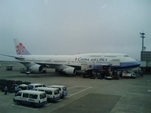 桃園国際空港に駐機中のチャイナエアラインズ。