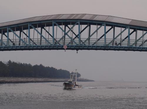 すぐ横を、柴漁港の漁船が帰港。<br /><br />海上は、視界が悪いようです。<br />