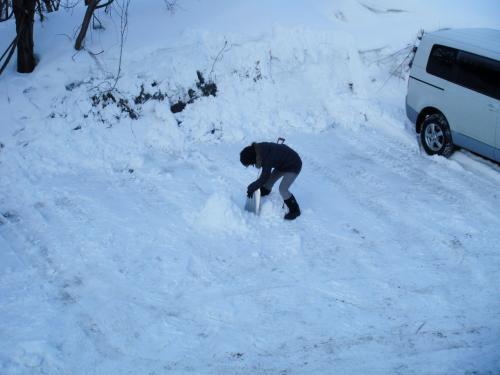 昨夜のご乱交もナンノソノ!<br />朝から若者は元気です。<br />雪ダルマ製作中のミカちゃん。