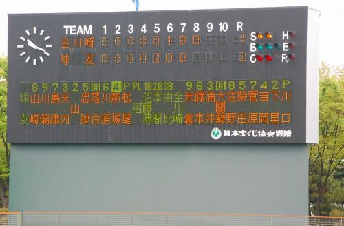 第一試合のスコアボード。<br />熱戦ですなぁ。<br /><br />横浜球友クラブVS全川崎<br />