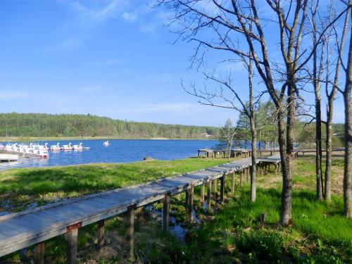 よって、朝の女神湖(写真)を散歩しながら観察ポイントを探す。<br />