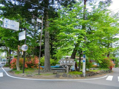 取りあえず徒歩で北軽井沢の中心街(写真)まで朝の散歩に出かける。<br />