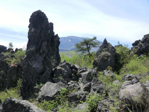浅間山の噴火によって流れ出た溶岩が「奇岩」(写真)を創り出している。<br />
