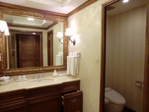 洗面台(写真)がトイレ・バスルームから独立しているのもスタンダードとの違いである。