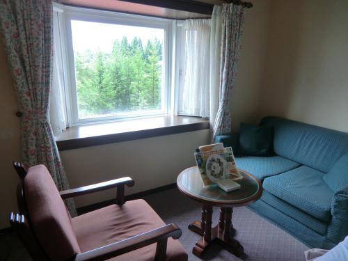 ソファーの横に大きな出窓(写真)があり、窓からはひるがの高原の森が見える。