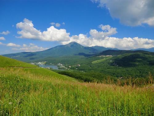 蓼科山と白樺湖を見下ろすビューポイント(写真)まで下ると駐車場はすぐである。
