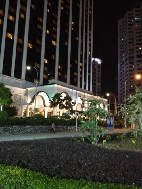 クアラルンプール到着。タクシーでホテルへ。飛行機の到着は少し遅れたが、タクシーの運ちゃんがやたら飛ばすので、予定通りPM7:30、Hotel Istanaに到着。すでに暗い。翌朝早く出発するので、昼間の景色はわからないままでした。<br />老舗ホテルで設備は古めだが豪華。インターネット回線が故障してて最初しばらく使えなかった以外は問題なし。