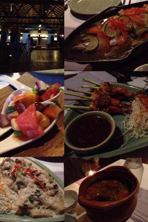 夕食は、アミューズ、トムヤム、蒸した魚、海老、ナス。タイ料理レストランが経営するリゾートなので、タイ料理が美味いのは当然といえば当然。<br />デザートはここでオーダーして、海上のイタリアンレストランで食べました。ロケーションとしては海上レストランが最高。料理はタイ料理のほうがより美味しいです。