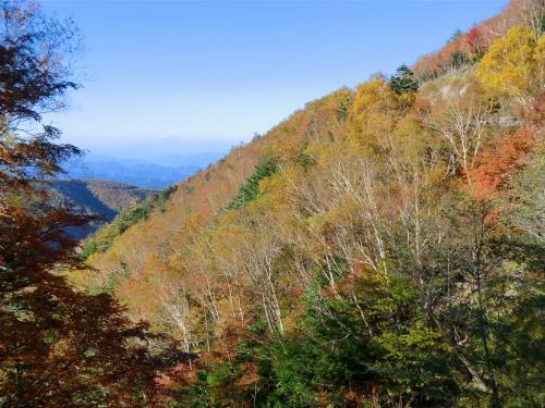 上るにつれて蓼科山麓の紅葉(写真)が一段と深まってくる。<br />