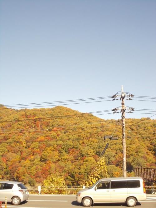 湯西川温泉駅の前は、油絵のような紅葉でした。