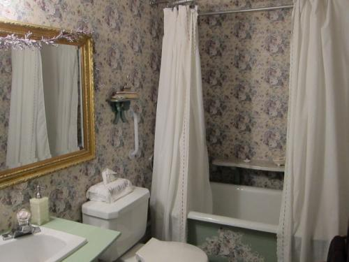バスルーム。<br /><br />シャワーカーテンを引くよう、念を押されました。<br />きっと水浸しにした日本人がいたんでしょうね!